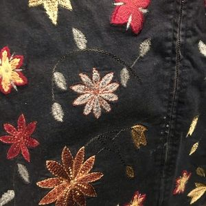 Denim&Co Jackets & Coats - Denim & Co Womans Black Jean Jacket Flower Design